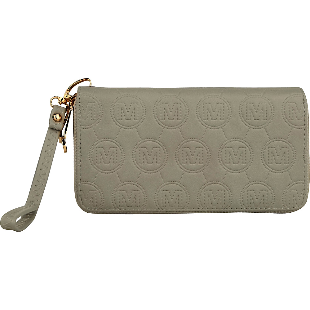 MKF Collection Samantha Embossed Signature Wallet Light Grey - MKF Collection Manmade Handbags - Handbags, Manmade Handbags