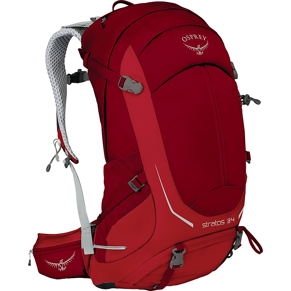 Osprey Stratos 34 Hiking Pack Beet Red – S/M - Osprey Day Hiking Backpacks - Outdoor, Day Hiking Backpacks