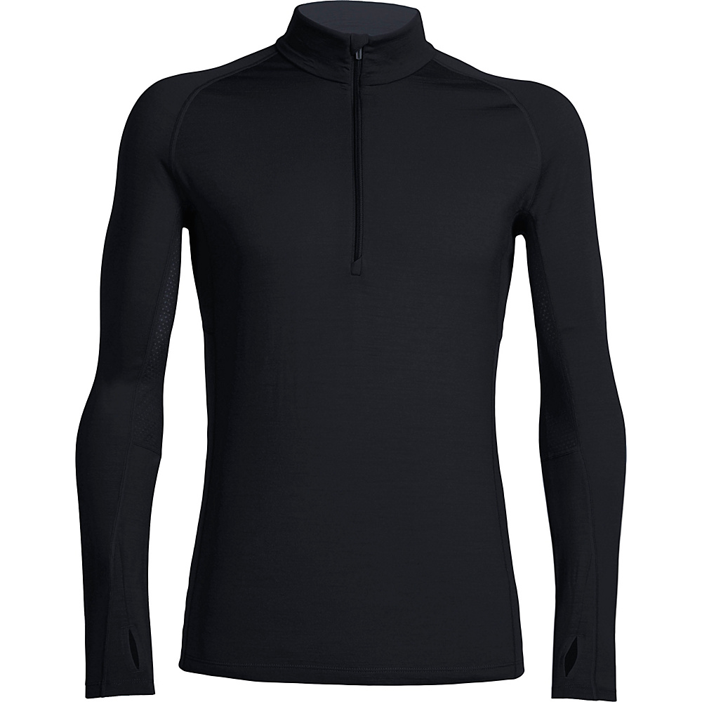 Icebreaker Mens Zone Long Sleeve Half Zip L - Black/Monsoon/Monsoon - Icebreaker Mens Apparel - Apparel & Footwear, Men's Apparel