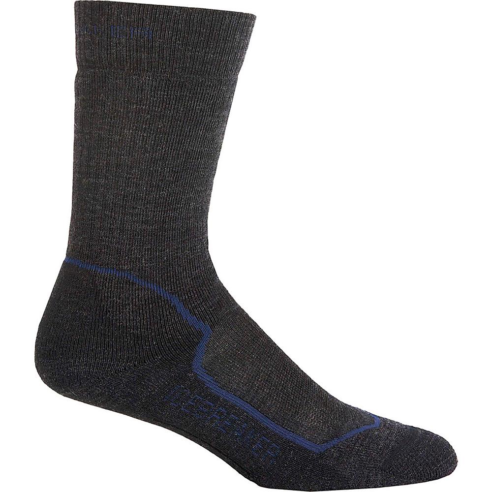 Icebreaker Mens Hike+ Medium Crew Sock L - Jet Heather/Planet/Black - Icebreaker Mens Legwear/Socks - Apparel & Footwear, Men's Legwear/Socks