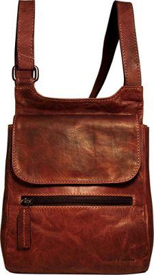 Jack Georges Voyager Slim Crossbody Brown - Jack Georges Leather Handbags