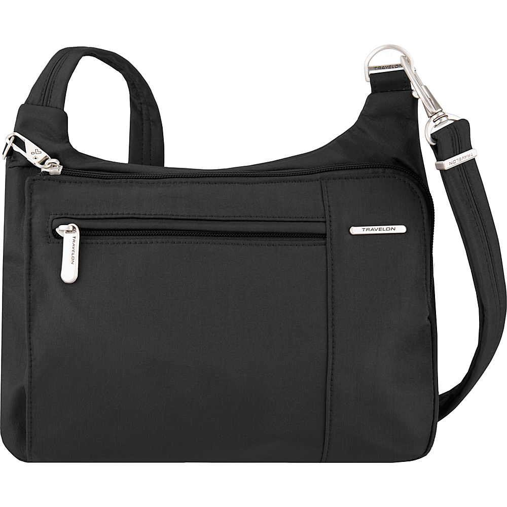 Travelon Anti-Theft Asymmetric East/West Crossbody - Exclusive Black/Dusty Rose Interior - Travelon Fabric Handbags - Handbags, Fabric Handbags