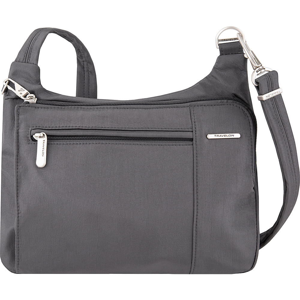 Travelon Anti-Theft Asymmetric East/West Crossbody - Exclusive Pewter/Dark Emerald Interior - Travelon Fabric Handbags - Handbags, Fabric Handbags