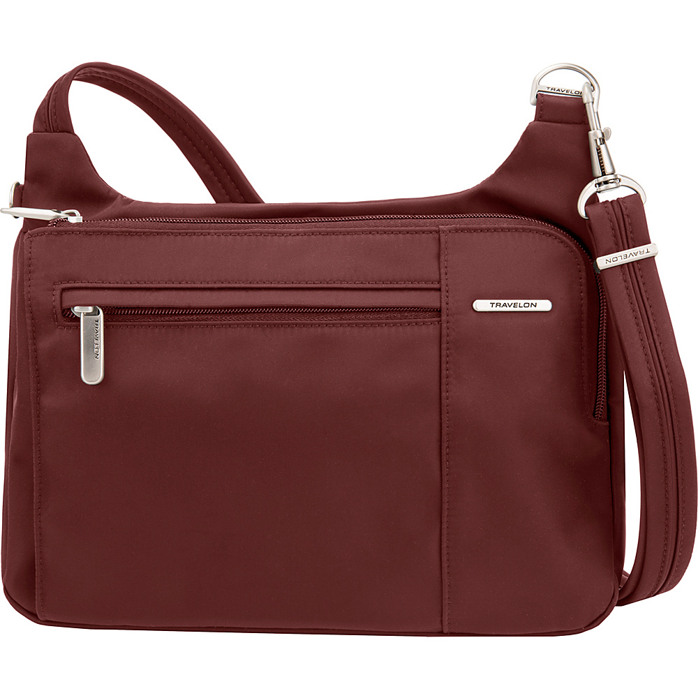 Travelon Anti-Theft Welted Asymmetric East/West Crossbody - Exclusive Maroon - Travelon Fabric Handbags - Handbags, Fabric Handbags