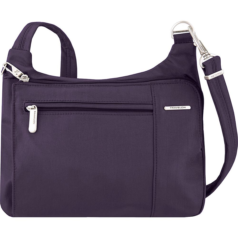 Travelon Anti-Theft Asymmetric East/West Crossbody - Exclusive Purple/Gray Interior - Travelon Fabric Handbags - Handbags, Fabric Handbags