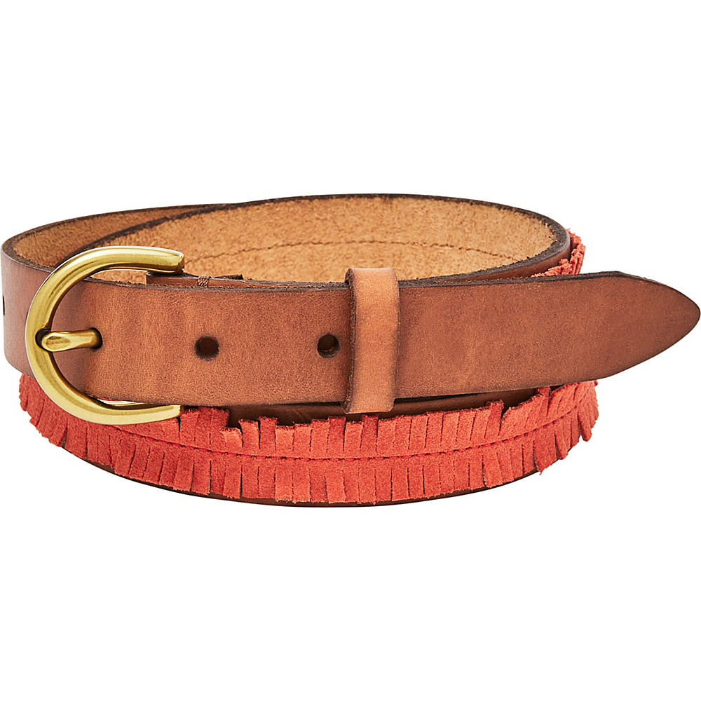 Fossil Fringe Skinny Belt L - Chili Pepper - Fossil Belts - Fashion Accessories, Belts
