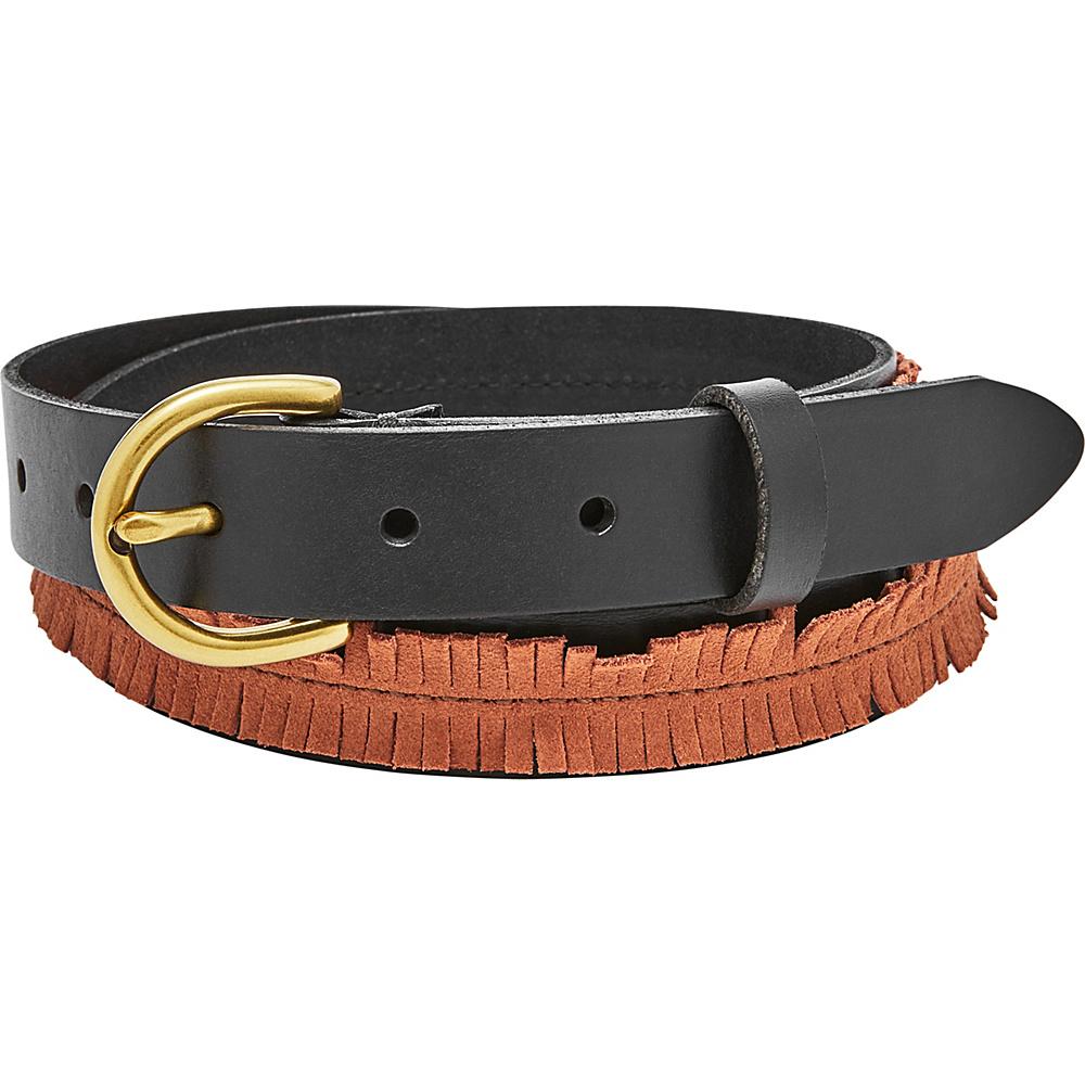 Fossil Fringe Skinny Belt L - Black/Brown - Fossil Belts - Fashion Accessories, Belts
