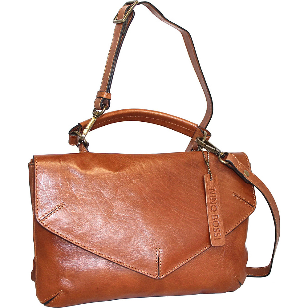 Nino Bossi Venus Leather Crossbody Cognac - Nino Bossi Leather Handbags - Handbags, Leather Handbags