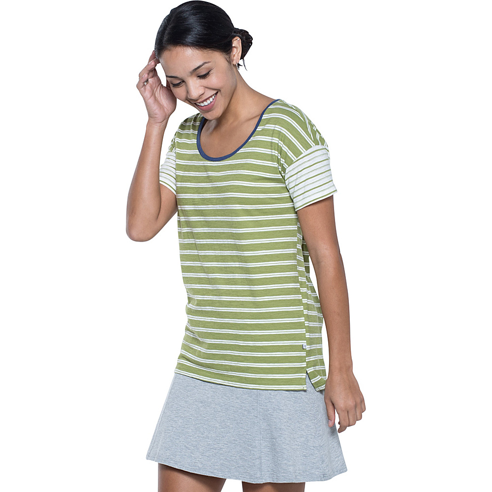 Toad & Co Slubstripe Dolman Tee S - Iguana Double Stripe - Toad & Co Womens Apparel - Apparel & Footwear, Women's Apparel