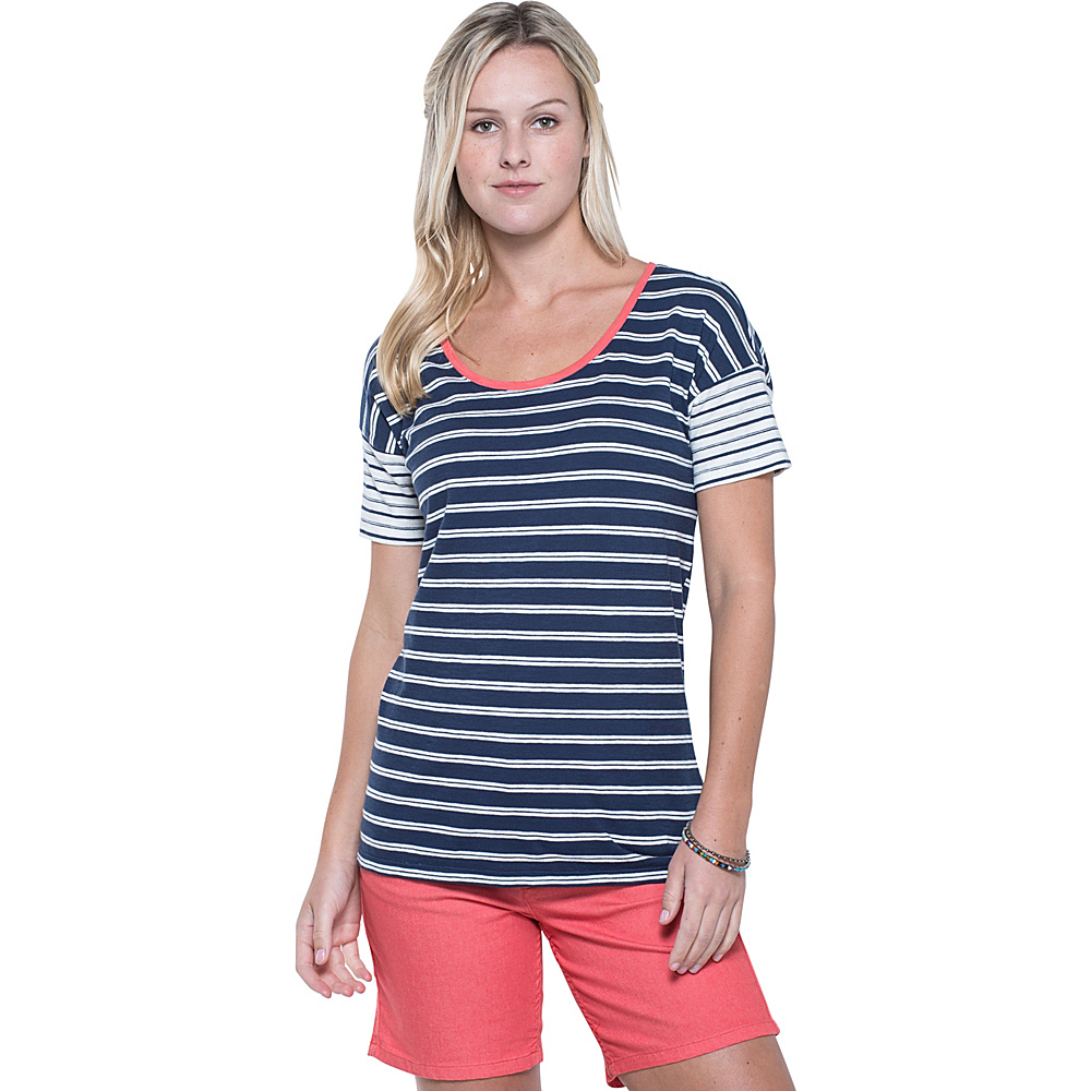 Toad & Co Slubstripe Dolman Tee S - Deep Navy Double Stripe - Toad & Co Womens Apparel - Apparel & Footwear, Women's Apparel