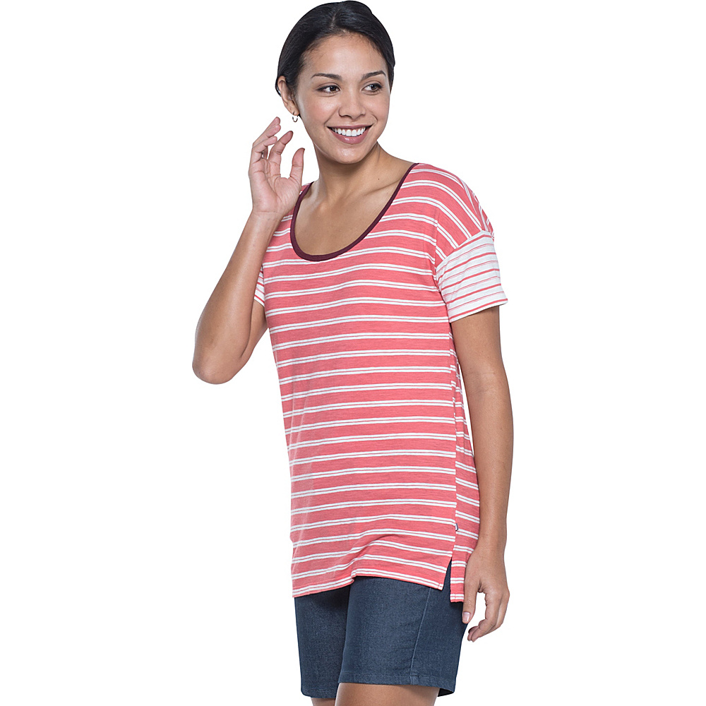 Toad & Co Slubstripe Dolman Tee M - Spiced Coral Double Stripe - Toad & Co Womens Apparel - Apparel & Footwear, Women's Apparel
