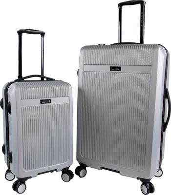 Perry Ellis Hayward 2 Piece Hardside 8 Wheel Spinner Lightweight Luggage Set Silver - Perry Ellis Luggage Sets