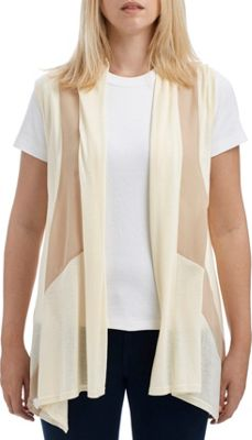 Lava Accessories Color Paneled Jersey Chiffon Vest One Size  - Ivory - Lava Accessories Women's Apparel