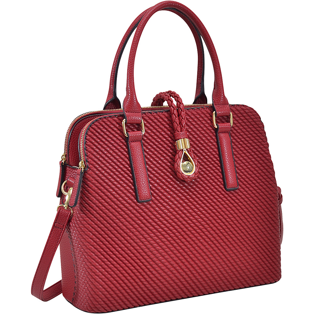 Dasein Faux Leather Medium Weaved Design Satchel Red - Dasein Manmade Handbags - Handbags, Manmade Handbags
