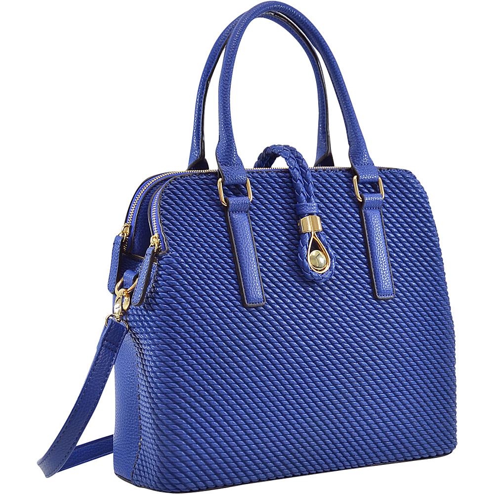 Dasein Faux Leather Medium Weaved Design Satchel Royal Blue - Dasein Manmade Handbags - Handbags, Manmade Handbags