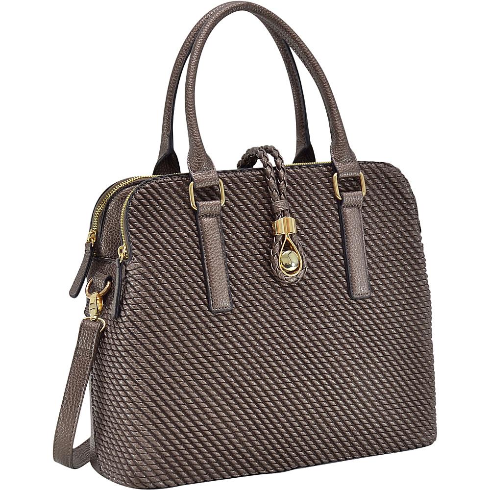 Dasein Faux Leather Medium Weaved Design Satchel Bronze - Dasein Gym Bags - Sports, Gym Bags