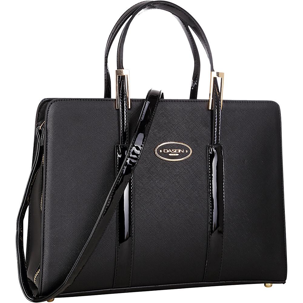 Dasein Zip Around Logo Briefcase Tote Black - Dasein Manmade Handbags - Handbags, Manmade Handbags