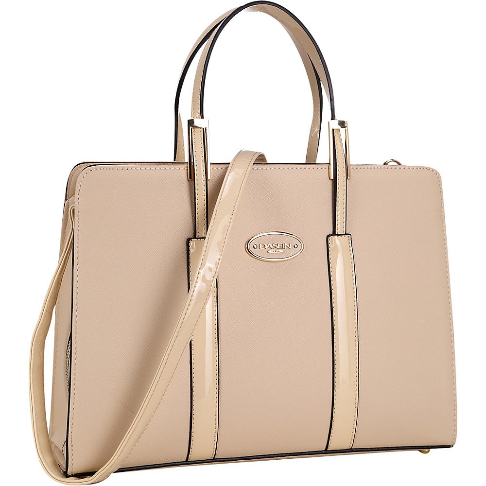 Dasein Zip Around Logo Briefcase Tote Beige - Dasein Manmade Handbags - Handbags, Manmade Handbags