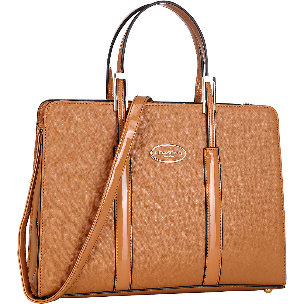 Dasein Zip Around Logo Briefcase Tote Brown - Dasein Manmade Handbags - Handbags, Manmade Handbags