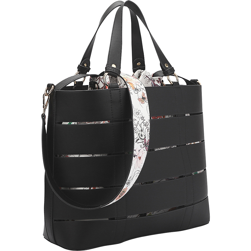 Dasein 2-in-1 Tote with Buckle Details Black Flower - Dasein Manmade Handbags - Handbags, Manmade Handbags