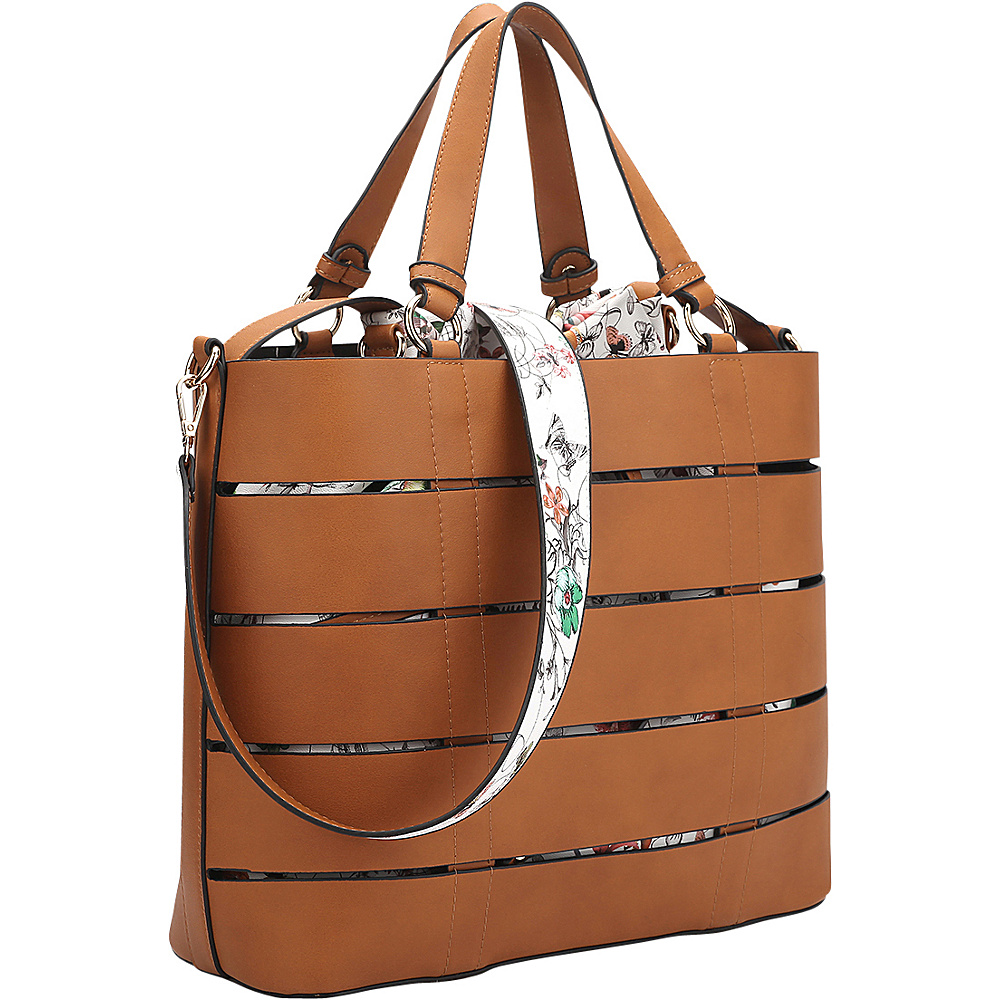 Dasein 2-in-1 Tote with Buckle Details Brown Flower - Dasein Manmade Handbags - Handbags, Manmade Handbags