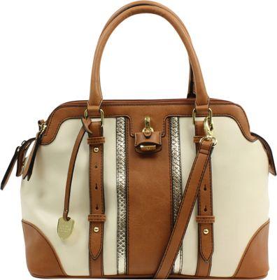 London Fog Handbags Lancaster Triple Satchel Ivory Stripe - London Fog Handbags Manmade Handbags