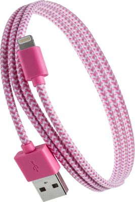 PURTECH Apple MFI Certified Lightning Cable 3.3 Feet Tough-Braided Extra-Strong Jacket - Sync/Charge - 1PK Pink / White - PURTECH Electronic Accessories