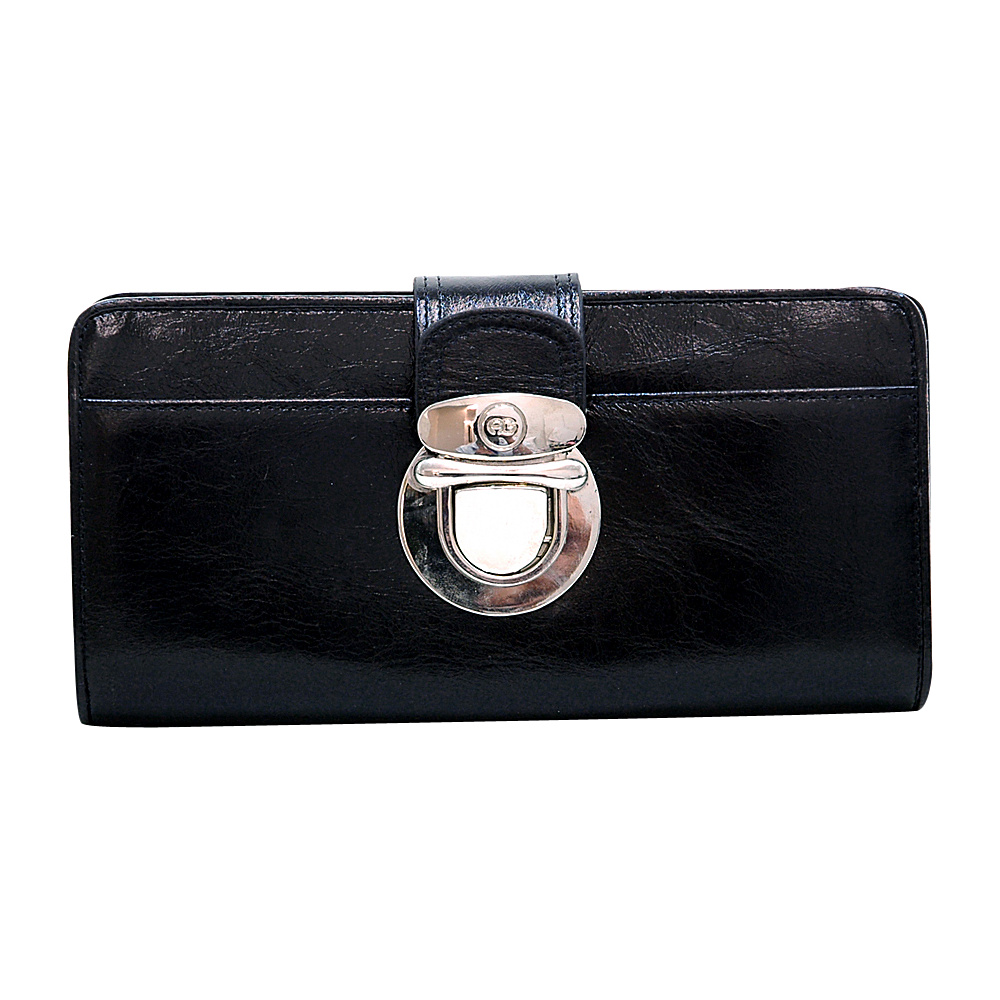 Dasein Womens Gold Buckled Bifold Wallet Black - Dasein Womens Wallets - Women's SLG, Women's Wallets