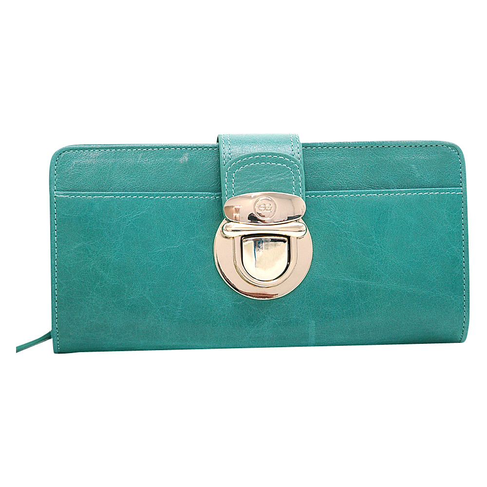 Dasein Womens Gold Buckled Bifold Wallet Sea Green - Dasein Womens Wallets - Women's SLG, Women's Wallets