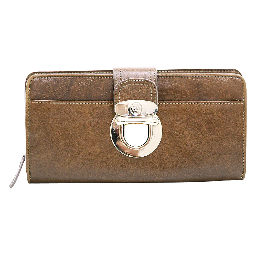 Dasein Womens Gold Buckled Bifold Wallet Brown - Dasein Womens Wallets - Women's SLG, Women's Wallets