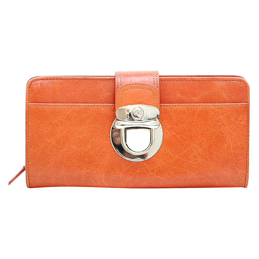 Dasein Womens Gold Buckled Bifold Wallet Orange - Dasein Womens Wallets - Women's SLG, Women's Wallets