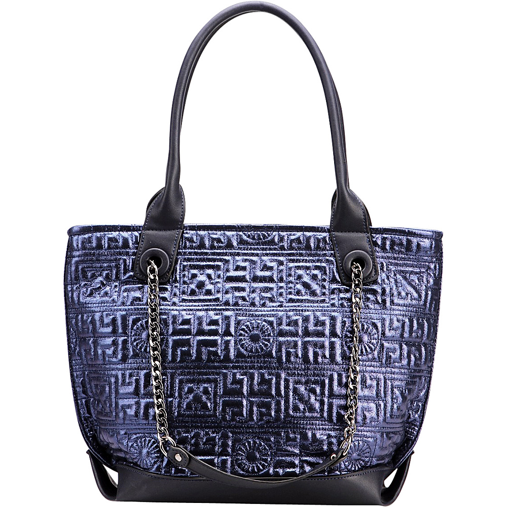 MKF Collection by Mia K. Farrow Greek Key Tote Blue - MKF Collection by Mia K. Farrow Manmade Handbags - Handbags, Manmade Handbags