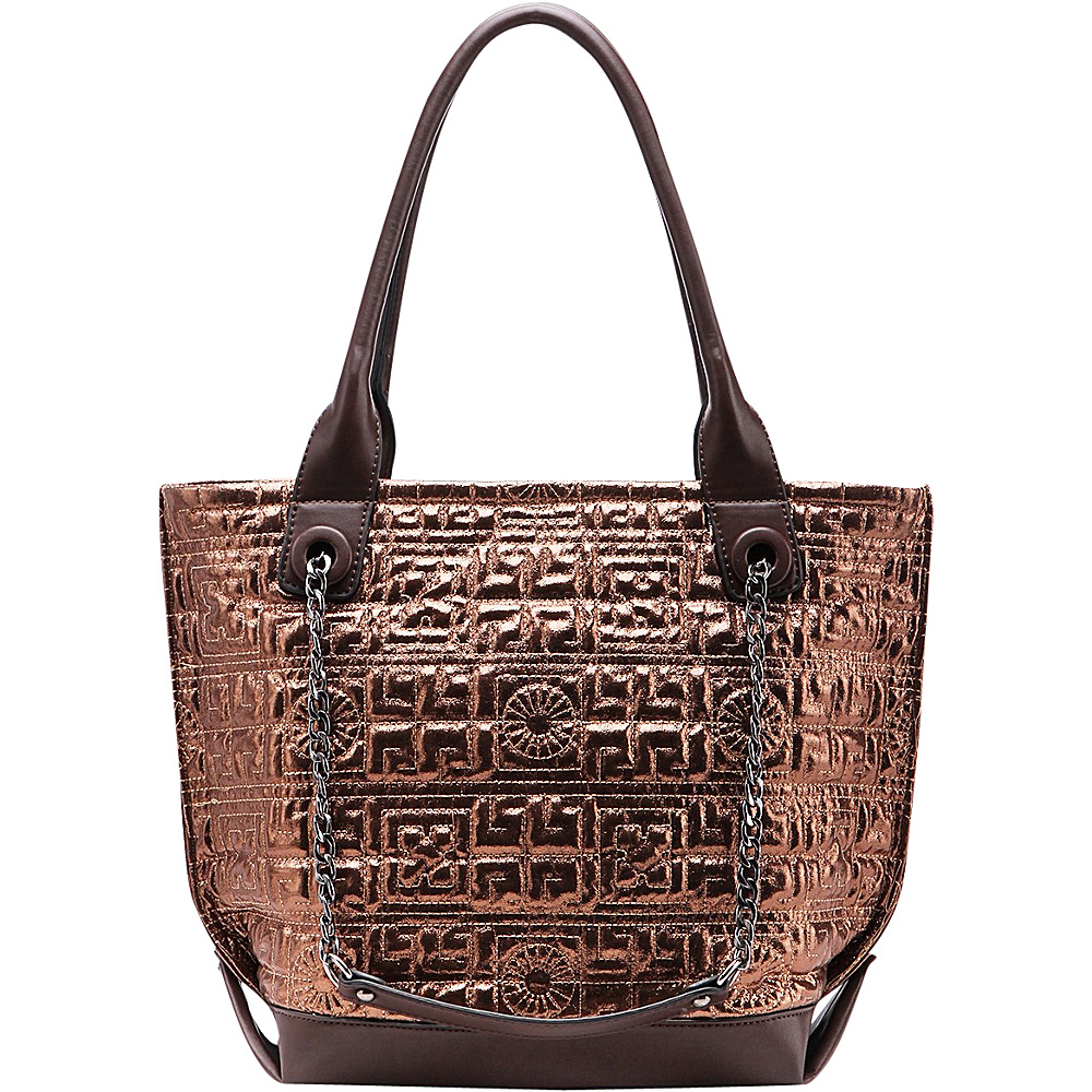 MKF Collection by Mia K. Farrow Greek Key Tote Coffee - MKF Collection by Mia K. Farrow Manmade Handbags - Handbags, Manmade Handbags