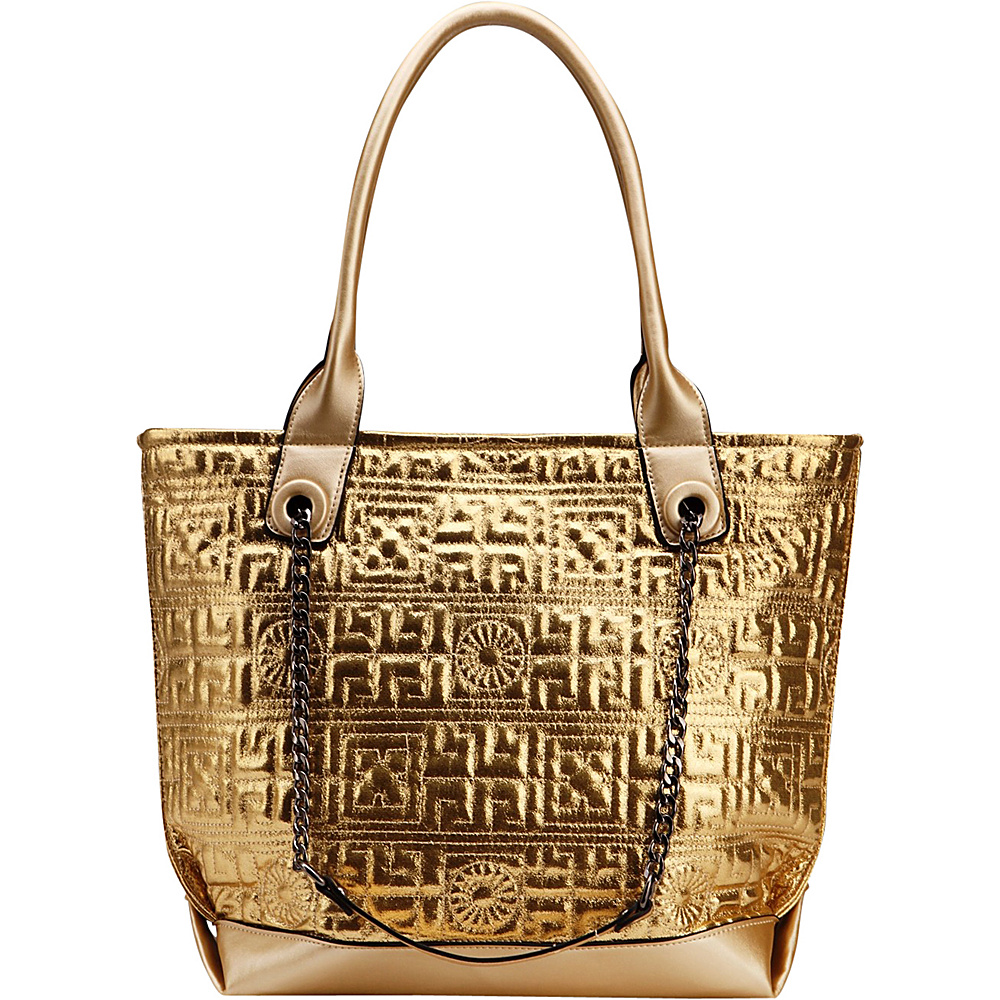 MKF Collection by Mia K. Farrow Greek Key Tote Gold - MKF Collection by Mia K. Farrow Manmade Handbags - Handbags, Manmade Handbags
