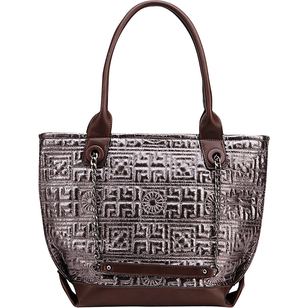 MKF Collection by Mia K. Farrow Greek Key Tote Grey - MKF Collection by Mia K. Farrow Manmade Handbags - Handbags, Manmade Handbags