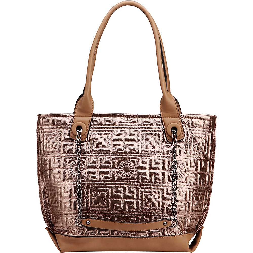 MKF Collection by Mia K. Farrow Greek Key Tote Khaki - MKF Collection by Mia K. Farrow Manmade Handbags - Handbags, Manmade Handbags