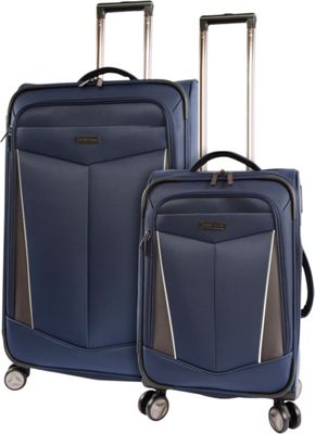 Perry Ellis Glenwood 2 Piece Spinner Expandable Luggage Set Navy - Perry Ellis Luggage Sets