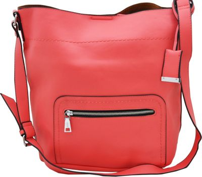MoDa Buttersoft Shoulder Bucket Tote Coral - MoDa Manmade Handbags