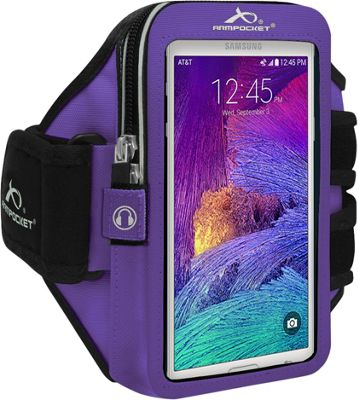 Armpocket MEGA i-40 Multi-Compartment Armband for Devices up to 6.5 inch - Medium Strap Length Purple - Armpocket Electronic Cases