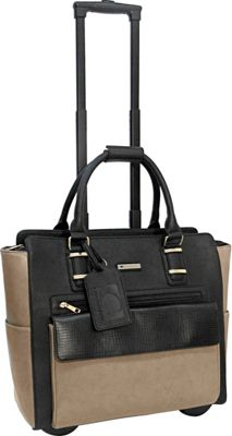 Cabrelli Gwenyth Rolling Briefcase Black/Taupe - Cabrelli Wheeled Business Cases