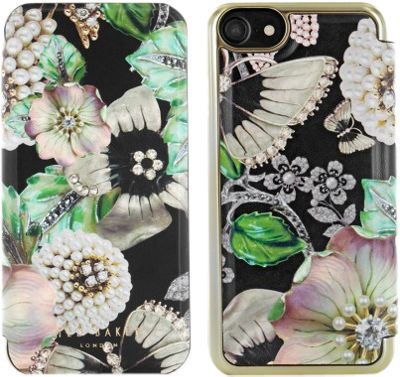 Ted Baker iPhone 6 & 7 Mirror Folio Case Clarena Gem Garden Black - Ted Baker Electronic Cases