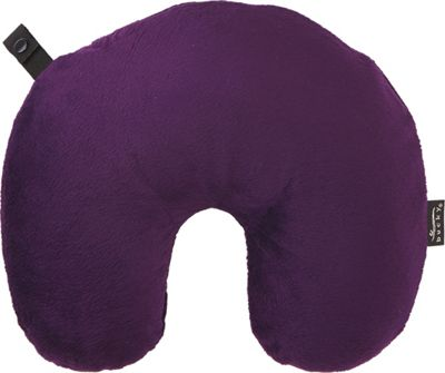Bucky Fun Fur Neck Pillow with Snap & Go Eggplant - Bucky Travel Comfort and Health
