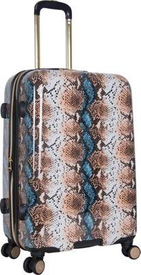Aimee Kestenberg Aruba 24 inch Hardside Expandable Spinner Blue Apricot Snake - Aimee Kestenberg Large Rolling Luggage