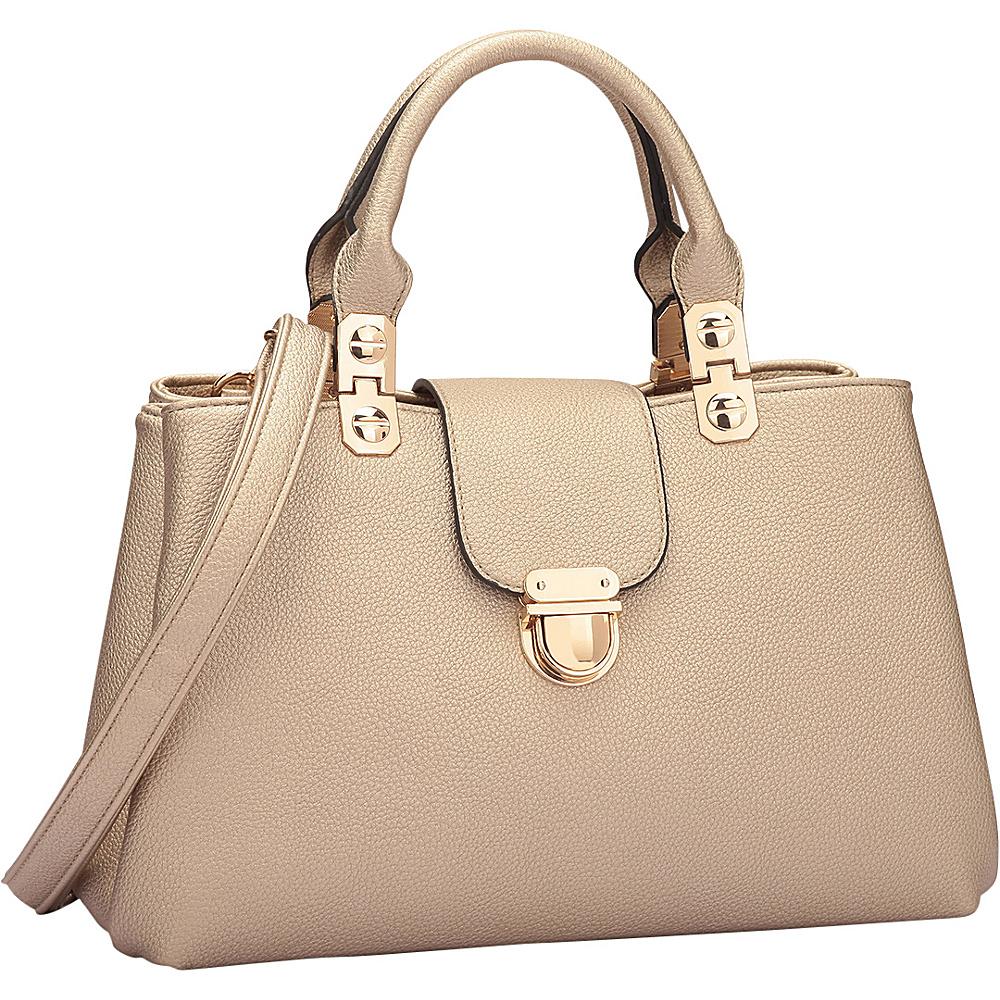 Dasein Fashion Double Pocket Satchel Gold - Dasein Manmade Handbags - Handbags, Manmade Handbags