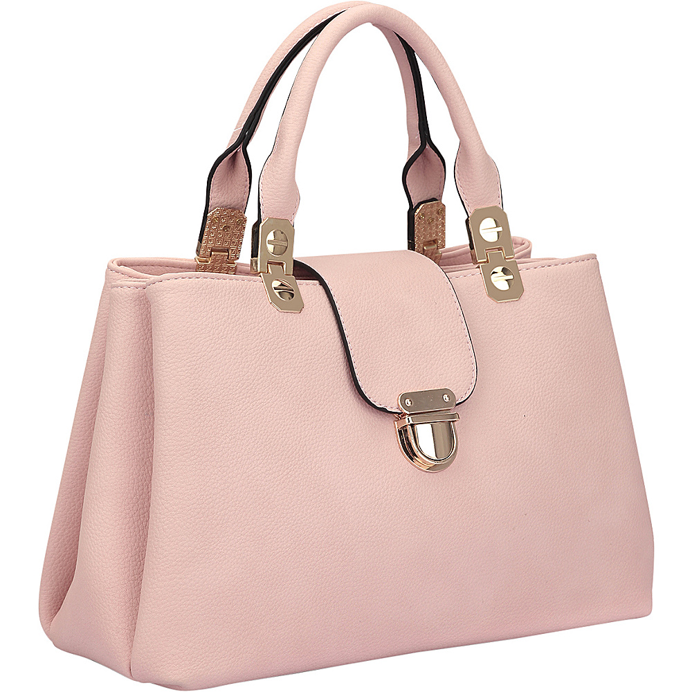 Dasein Fashion Double Pocket Satchel Pink - Dasein Manmade Handbags - Handbags, Manmade Handbags