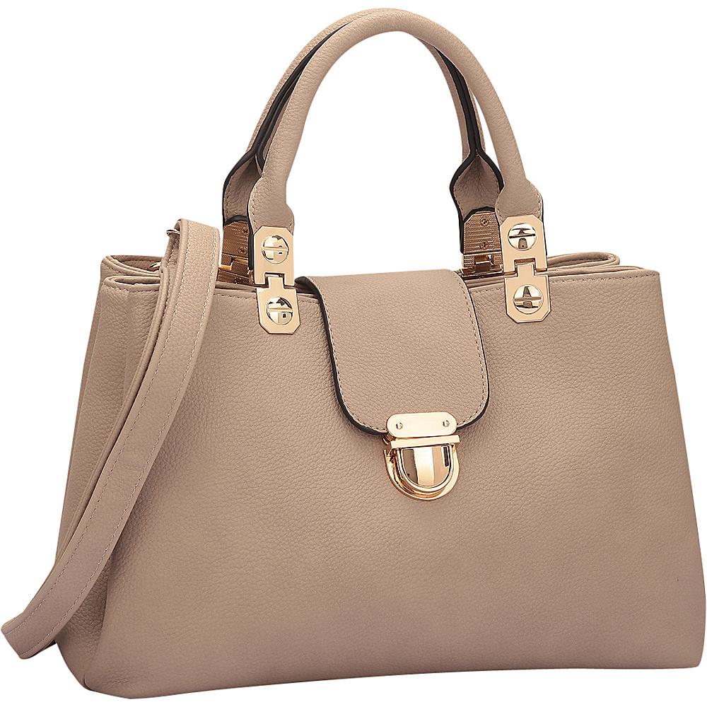 Dasein Fashion Double Pocket Satchel Stone - Dasein Manmade Handbags - Handbags, Manmade Handbags