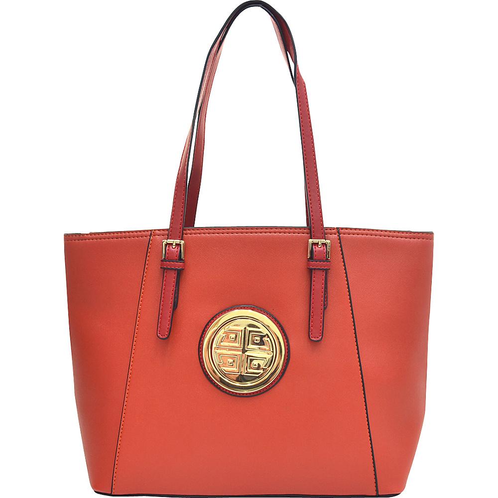 Dasein Elegant Two Tone Buckle Strap Emblem Tote Orange - Dasein Gym Bags - Sports, Gym Bags