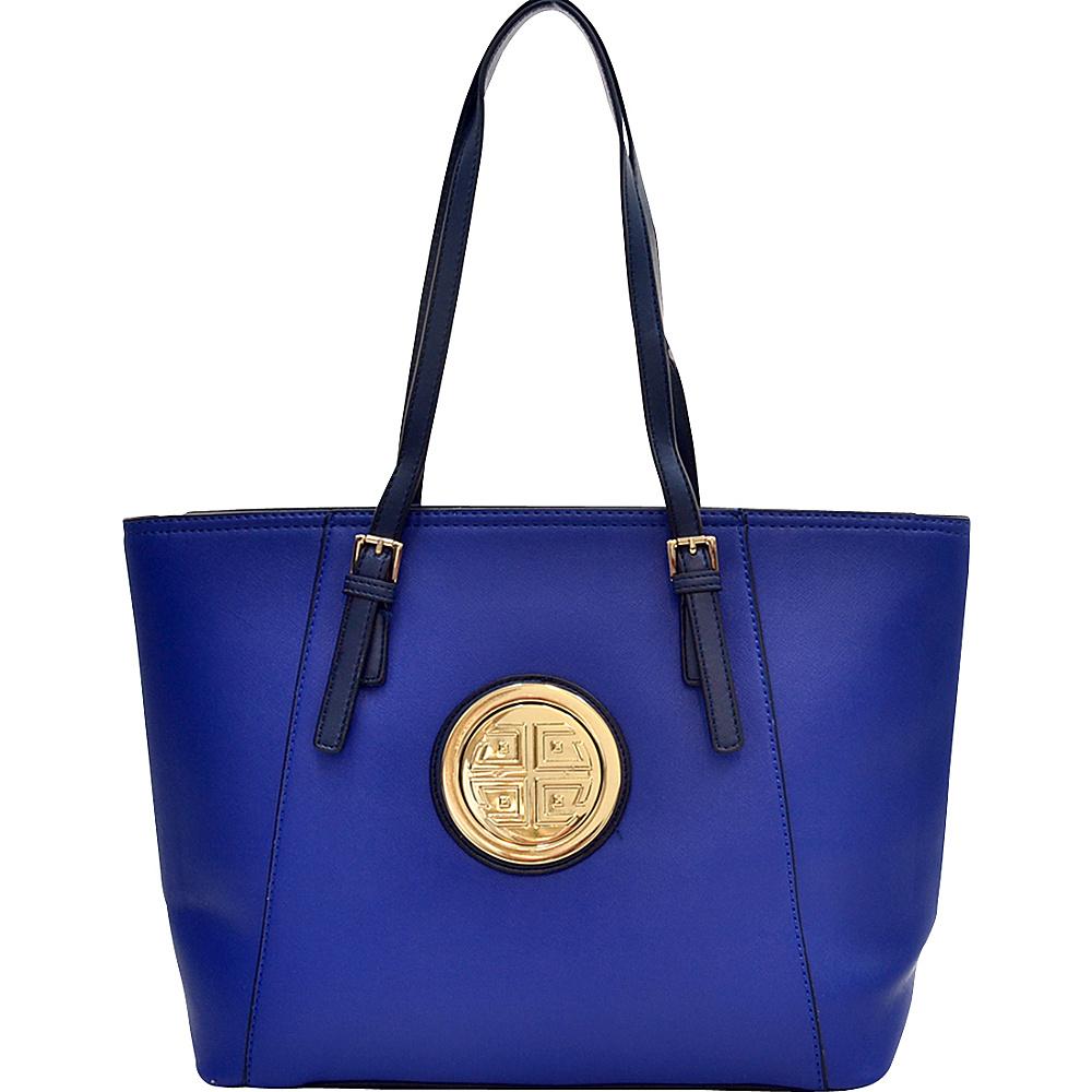 Dasein Elegant Two Tone Buckle Strap Emblem Tote Royal Blue - Dasein Gym Bags - Sports, Gym Bags