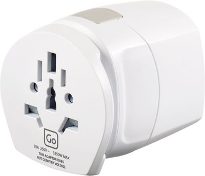 Go Travel Worldwide Grounded Adaptor White - Go Travel Travel Electronics