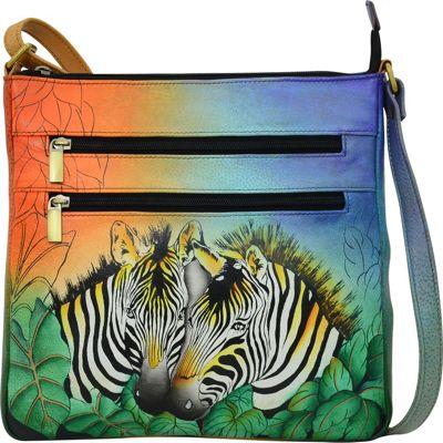 ANNA by Anuschka Hand Painted Medium Organizer Crossbody Zebra Safari - ANNA by Anuschka Leather Handbags